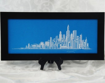 Chicago Skyline Print, Hand Made