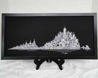 New York Skyline Print, Hand Made