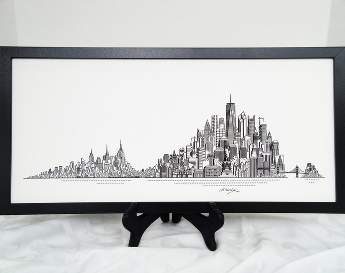 Featured listing image: New York Skyline Print, Hand Made