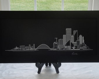 Milwaukee Skyline Print, Hand Made Original