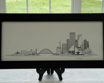 Milwaukee Skyline Print. Hand Made.