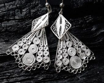 Silver Weaving Filet Crochet Earrings, Sterling 95