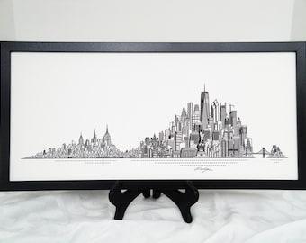 New York Skyline Print, Hand Made