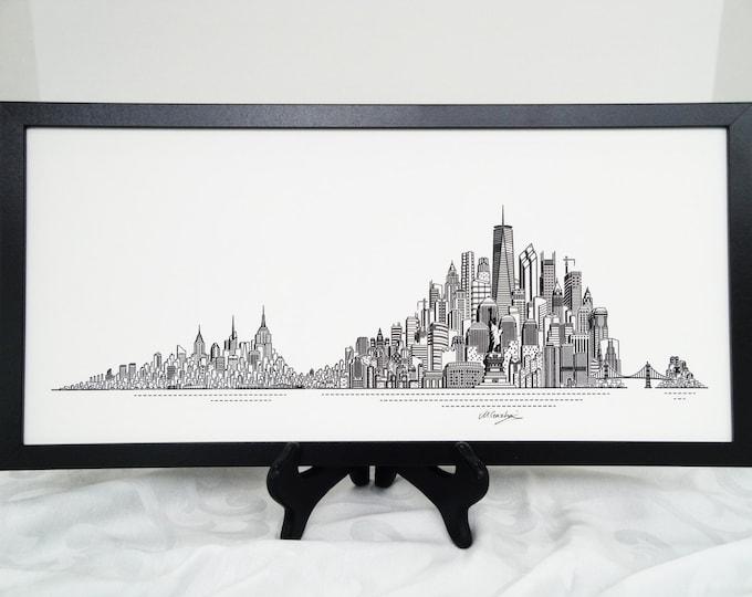 Featured listing image: New York Skyline Print, Hand Made