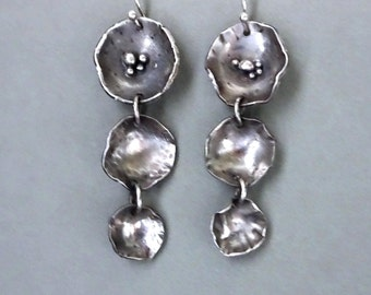 Handcrafted Flower Earrings, Fold formed Oxidized Silver, Gifts for Her, Long Dangles, Metalsmith Jewelry