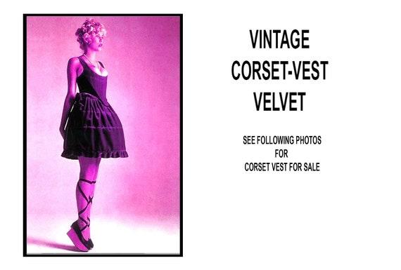 Vest Corset, Vintage Bustier Vest Top, Purple Velv