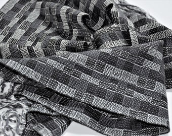 Hand woven Bamboo and Tencel Scarf in Black, Gray and Silver Blocks, Mens Handmade Scarf, Womens Hand Loomed Scarf, Neutral Colors Scarf