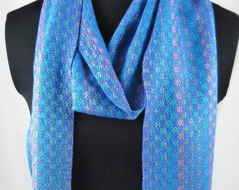 Blue and Teal Green Hand Woven Bamboo Scarf