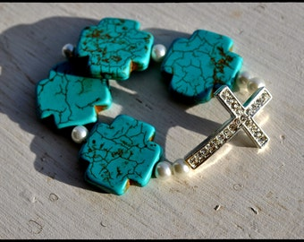 Crystal Sideways Cross Bracelet with Turquoise and Pearls