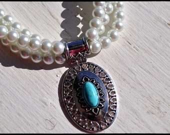 Gorgeous Shabby Chic Southwestern Turquoise and hand strung Pearl Necklace