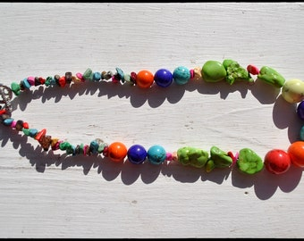 Gorgeous Bubble gum colored Nuggets and Rounds Necklace with a cute Rhinestone Heart clasp