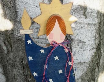 Primitive Lady Liberty - 4th of July Wood Shelf Sitter Decoration