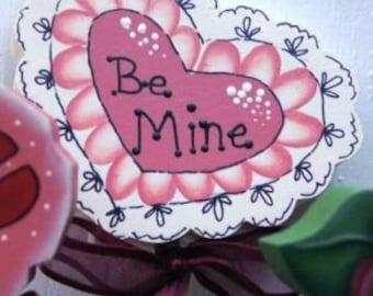 Valentine Plant Pokes- Valentine Decoration - Valentine Wood Sign - Hearts and Rose