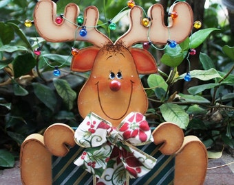 Comet the Reindeer with Present and Lights -  Wood Christmas Decoration - Shelf Sitter