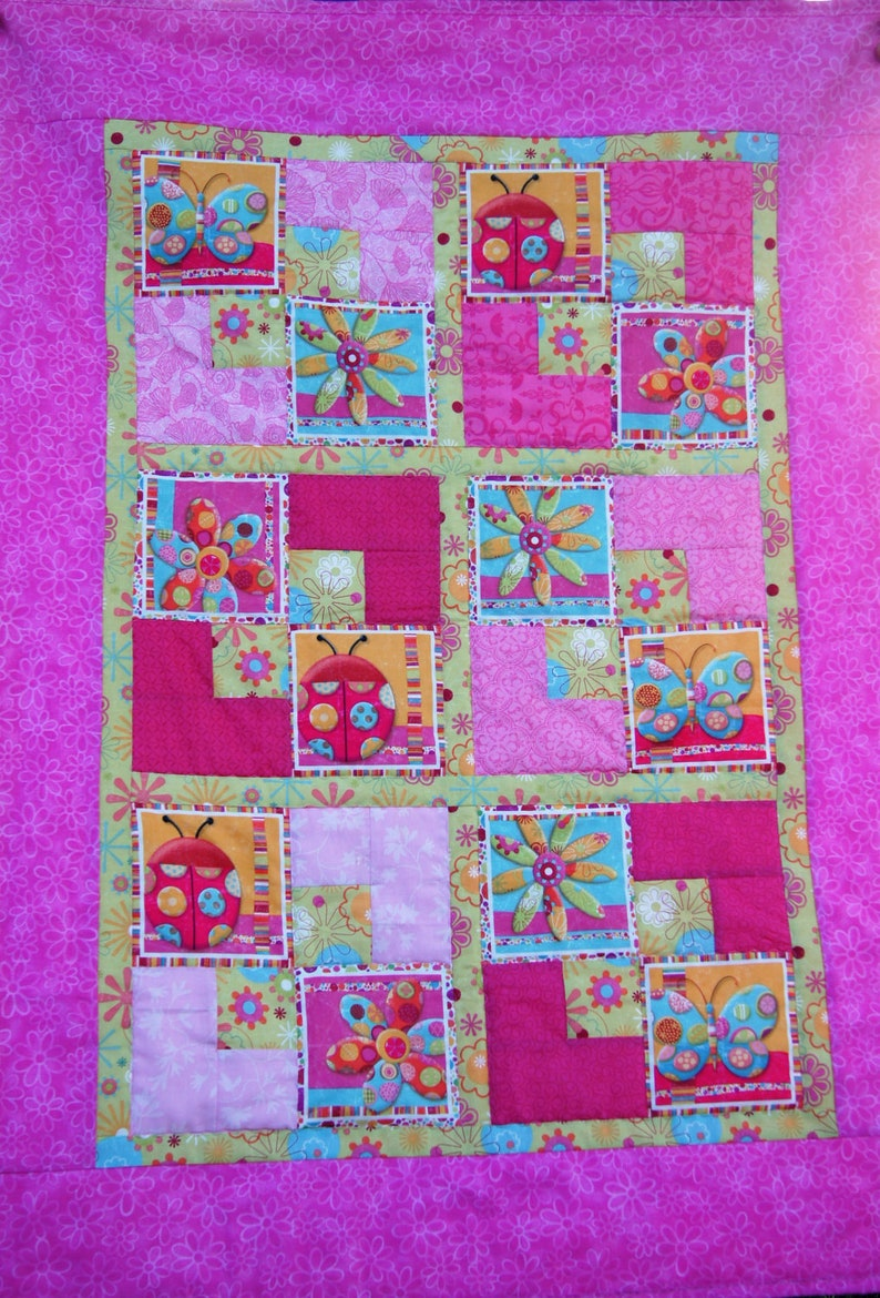 Girl Quilt with Lady Bugs Butterflies and Flowers Magic Garden Quilt Toddler Baby