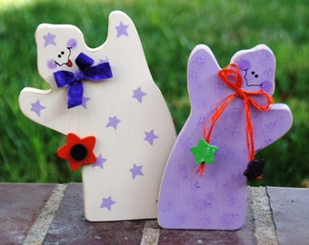 Halloween Ghostly Duo - Wood Ghost Decoration - Shelf Sitter