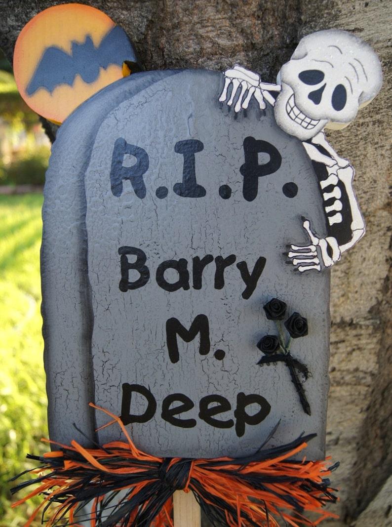 Wood Graveyard Tombstone Yard Stakes