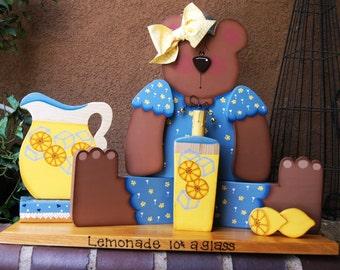 Summertime Miss Bear and Lemonade - Wood Table Decoration - Welcome Shelf Sitter
