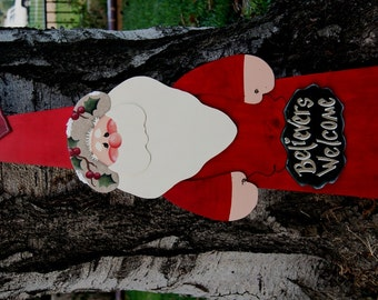 Christmas Santa Porch Decoration - Christmas Outside or Inside Sign - Yard Decoration