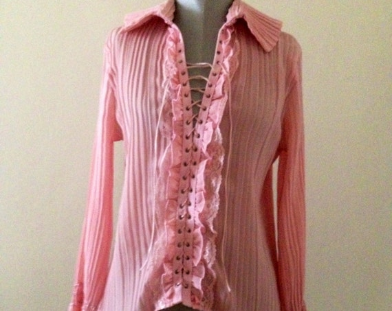 Vintage Pleated Lace Front Blouse