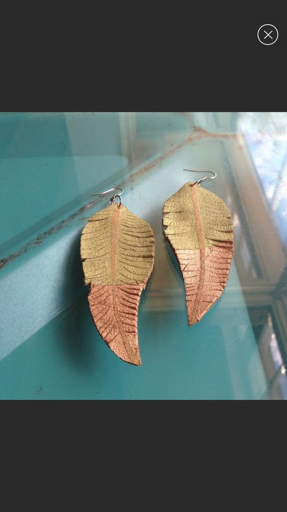 Hand Painted Leather Feather Earrings