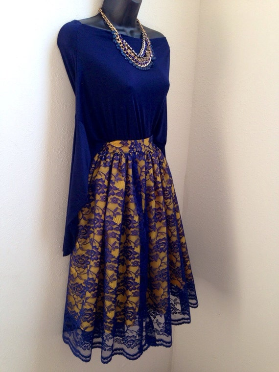 Blue over Gold Lace Skirt