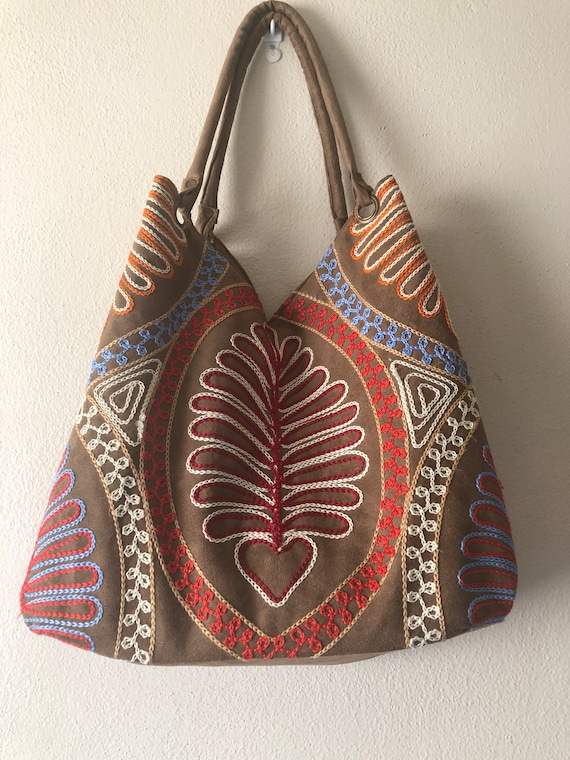 Embroidered Faux Suede Tote