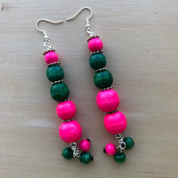 Pink and Green Stack Bead Earrings