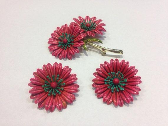 Vintage Enamel Chrysanthemum Brooch and Earring Set
