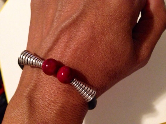 The Introverted Double Bead Red Jade Men's Bracelet