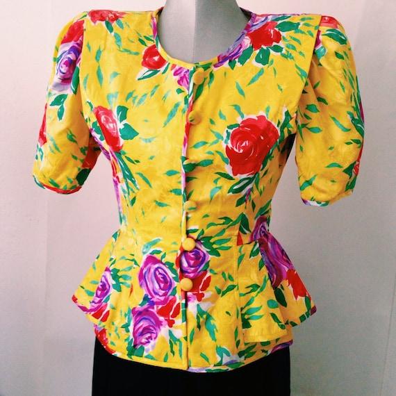 1980's Silk Floral Peplum Top