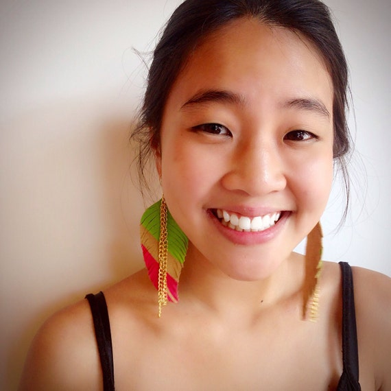 Neon Bright Leather Feather Earrings