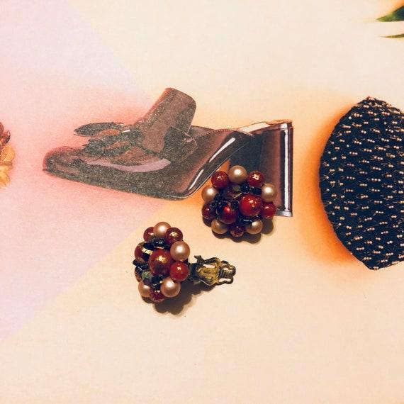 Vintage Pomegrante Clip 0n Cluster Earrings