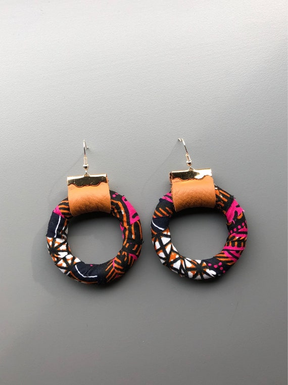 Ankara and Leather Earrings