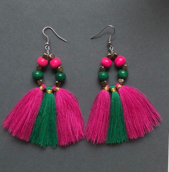 Pink and Green Wood Bead Tassel Earrings