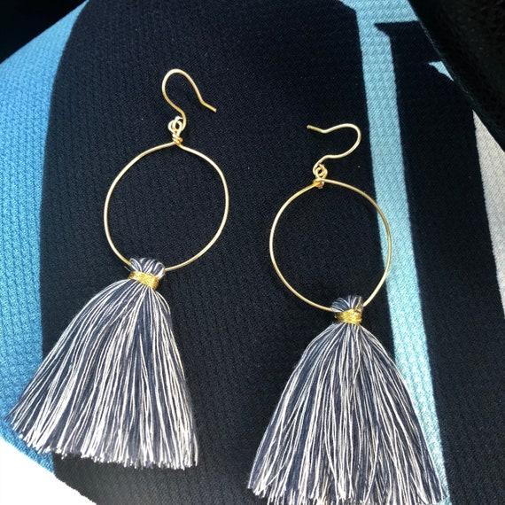 Handmade Wire and Tassel Earrings