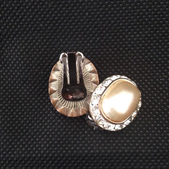 Vintage Pearl and Rhinestone Earrings