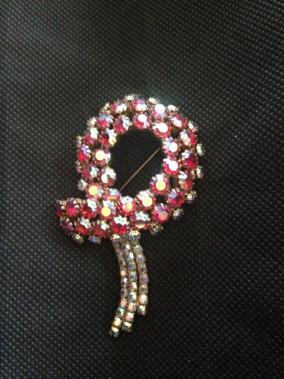 Ruby Red and Rhinestone Ribbon Brooch