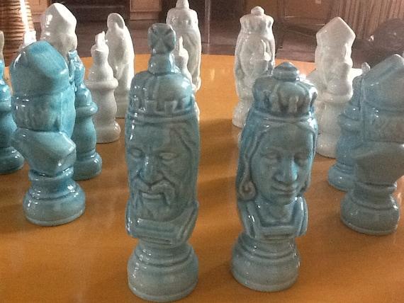 Rare Vintage Ceramic Chess Set