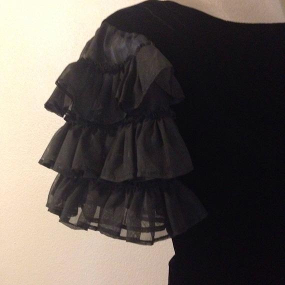 Vintage Black Velvet dress with Ruffled Sleeves.