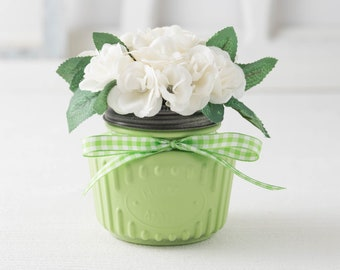 Spring decor, small centerpiece, farmhouse arrangement, rustic table top decor, mini rose bouquet, green mason jar vase with white flowers