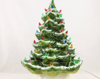 Ceramic Christmas Tree - Blue-tinged White Snow on Green Tree - Lighted Tree - Hand-painted Glazes by 'Ragen, Iowa Veterans' Home'