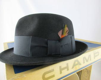 17706155caa8c Never Worn  Champ Croydon  - Black Coffee Color - Size 7 - Master-felted Champ  Hat in Original Box - Fedora Trilby Hat - Black Kasmir Finish