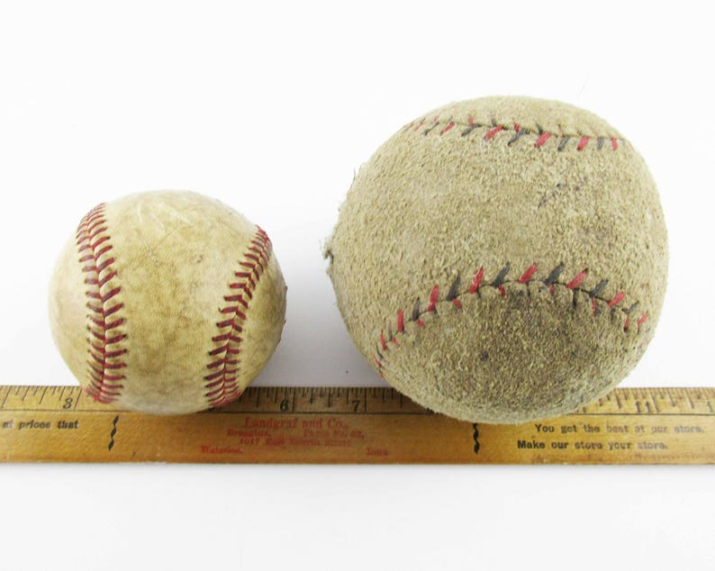 Vintage Sports Leather Baseball and Suede Leather Softball Beat Up and Played With Used Baseball and Softball Wonderful History