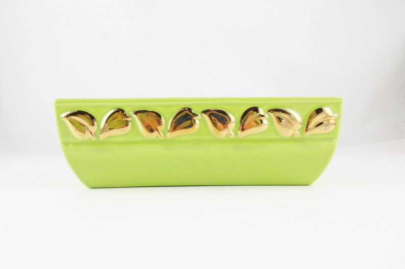 Collect and Use Chartreuse Color Chartreuse Green Ceramic PlanterBowlVase With Gold Leaves Unmarked