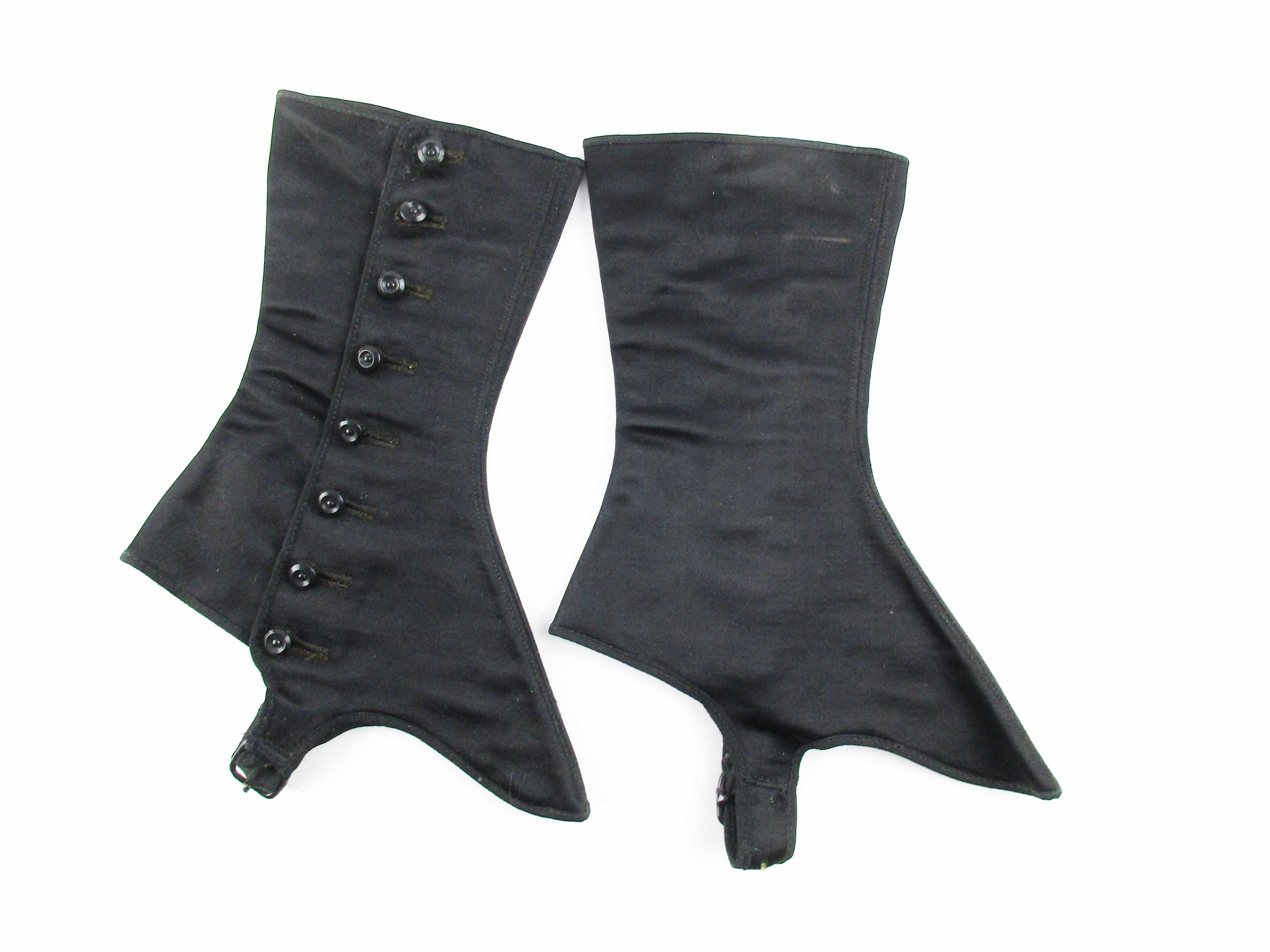 Spats, Gaiters, Puttees – Vintage Shoes Covers Vintage Womens Black Satin SpatsGaitors - The Great Gatsby With Buttons Olive Green Lining Paper Tag Marked Size 2 $36.00 AT vintagedancer.com
