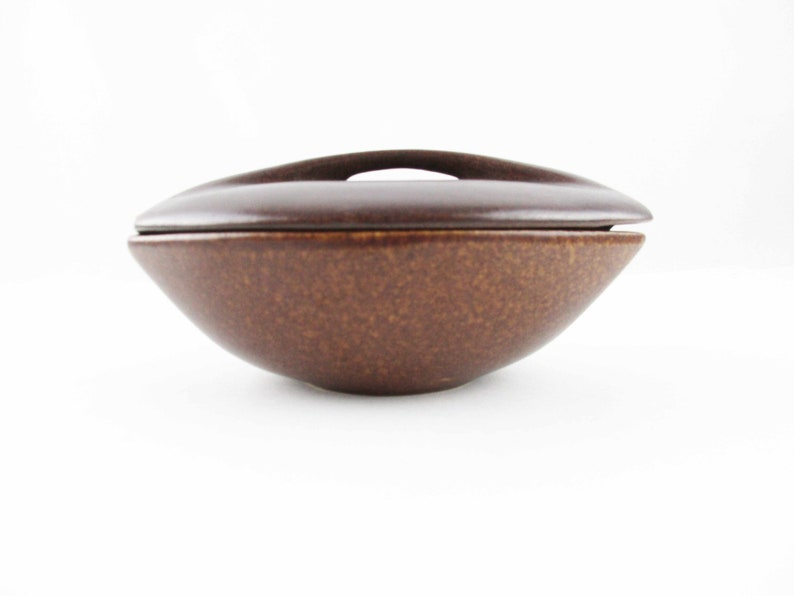 Roseville Raymor Modern Stoneware - Lidded Ramekin Lidded Bowl No Mottled Coffee Brown Color 156 Ben Seibel Lidded Bowl RMS