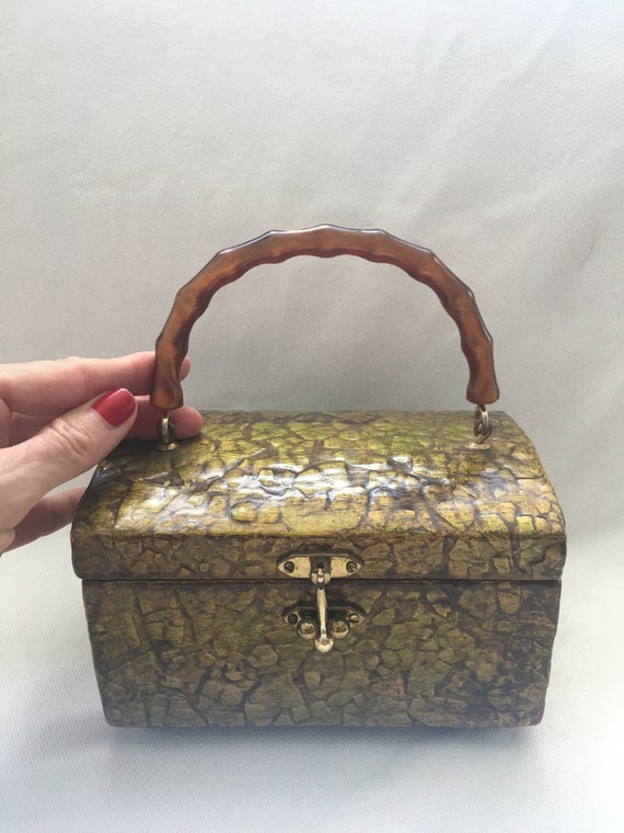 Vintage Wood & Bamboo Lucite Hand Bag