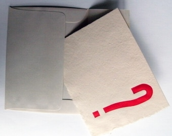 """Hand Made Card  - """"?"""", Letterpress on Hand Made Paper"""