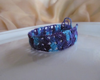 Dual Purpose Choker/Ankle Bracelet - Hand Crocheted in Turquoise and Purple